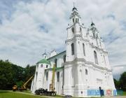 Реставрация Софийского собора в Полоцке уже достигла верхних ярусов фасада